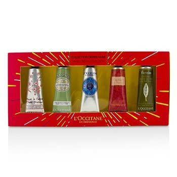 LOccitane Hand Cream Collection Set: Cherry Blossom + Almond + Shea Butter + Rose + Verveine (Verbena)