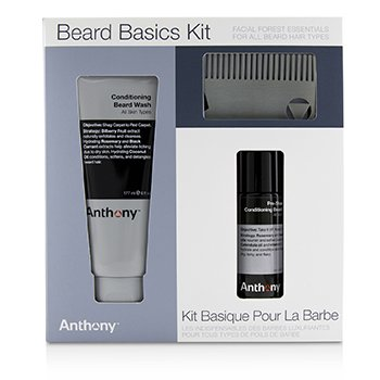 Anthony Beard Basics Kit: 1x Conditioning Beard Wash 177ml, 1x Pre-Shave + Conditioning Beard Oil 59ml, 1x Beard Comb