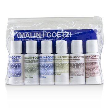 MALIN+GOETZ 1oz. Essentials Kit: Graprfuit Cleanser+Face Moisturizer+Body Wash+Body Moisturizer+Shampoo+Conditioner