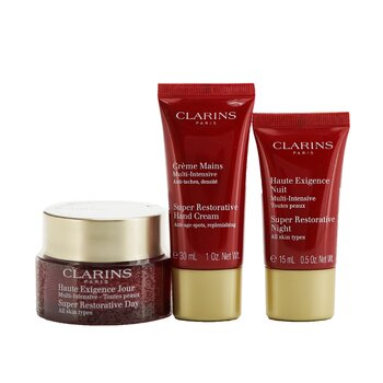 Clarins Super Restorative Collection: Day Cream 50ml + Night Cream 15ml + Hand Cream 30ml + Bag