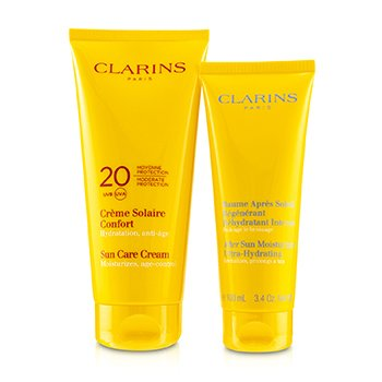 Clarins SunSet Kit: Sun Care Cream SPF 20 200ml + After Sun Moisturizer 100ml