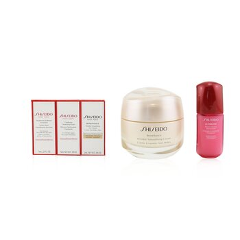Shiseido Anti-Wrinkle Ritual Benefiance Wrinkle Smoothing Cream Set (All Skin Types): Wrinkle Smoothing Cream 50ml + Cleansing Foam 5ml + Softener Enriched 7ml + Ultimune Concentrate 10ml + Wrinkle Smoothing Eye Cream 2ml