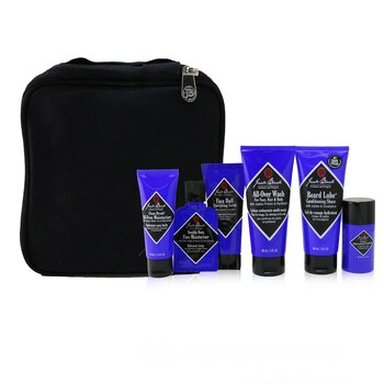 Jack Black Grab & Go Traveler 5-Pieces Set: All-Over Wash 88ml + Conditioning Shave 88ml + Moisturizer 44ml + Deodorant 37g + Travel Bag