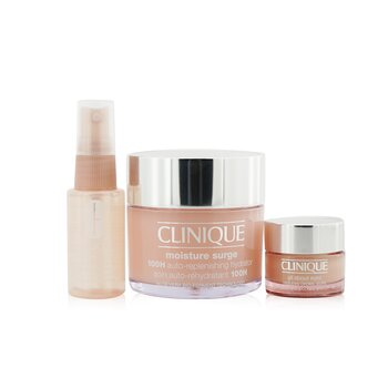 Clinique Moisture Surge Set: Moisture Surge 100H 125ml+ All About Eyes 15ml+ Moisture Surge Face Spray Thirsty Skin Relief 30ml