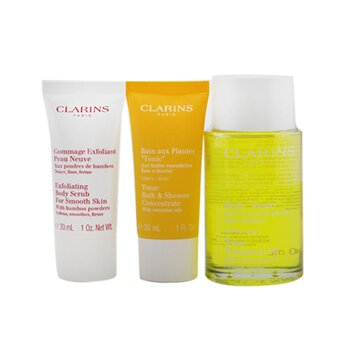Clarins Tonic Collection: Tonic Body Treatment Oil 100ml+ Exfoliating Body Scrub 30ml+ Tonic Bath & Shower Concentrate 30ml+ Bag